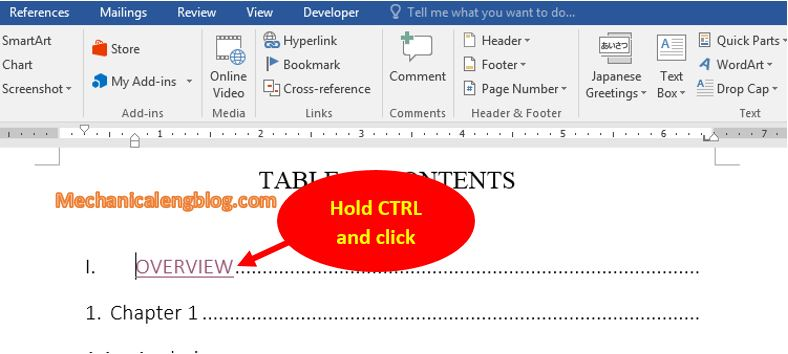 How to add menu bookmark and Hyperlink link in Word 3
