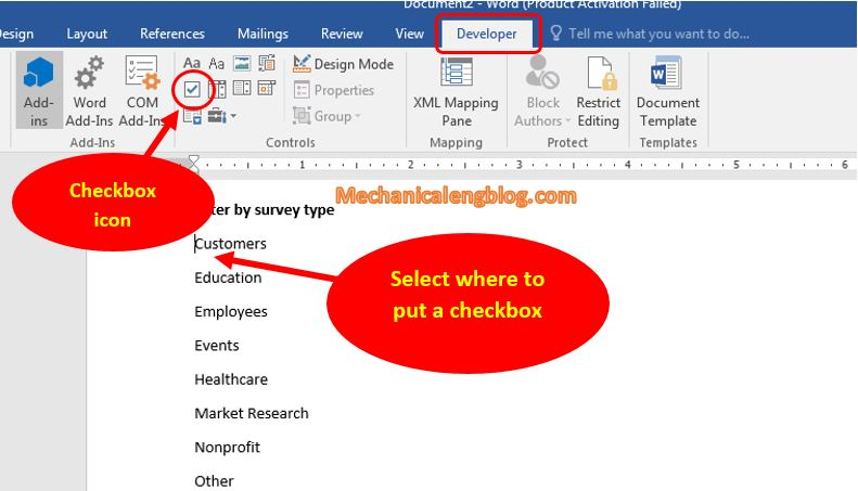 How to insert checkbox in Word 2
