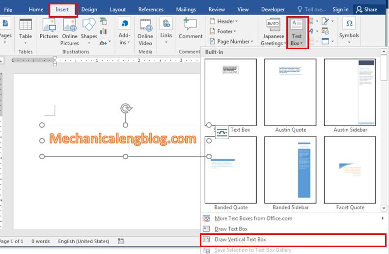 How to insert text box in word 1