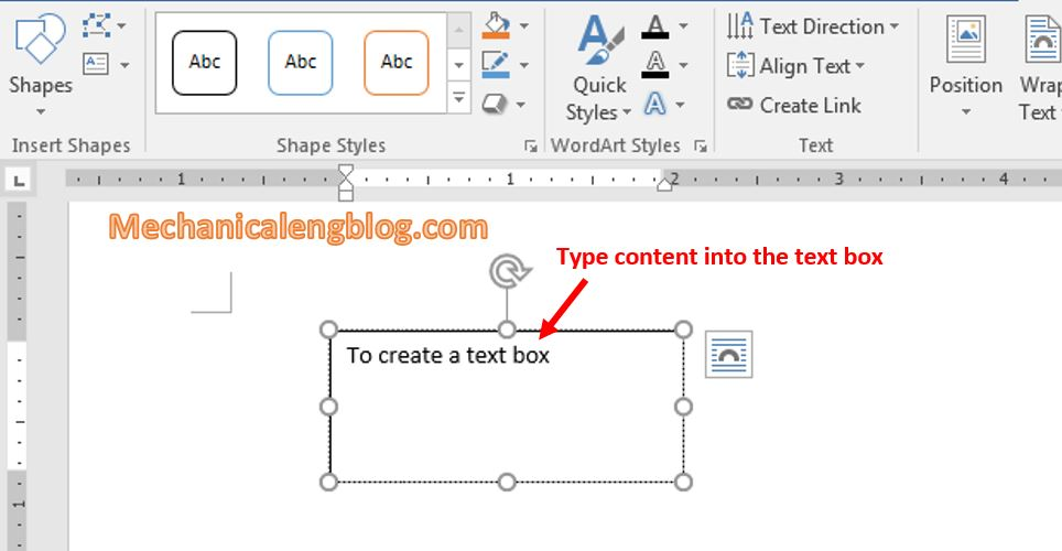 How to insert text box in word 3