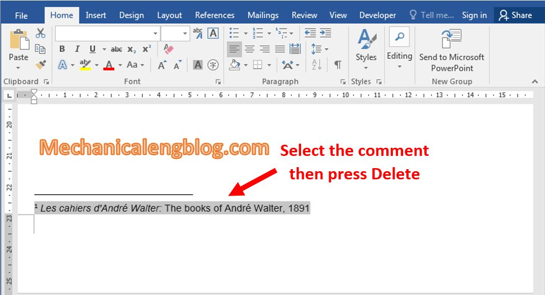 How to removing comments from word 1