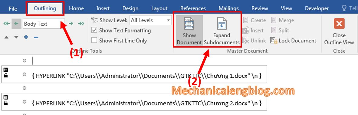 Insert existing document into Master Document file 1
