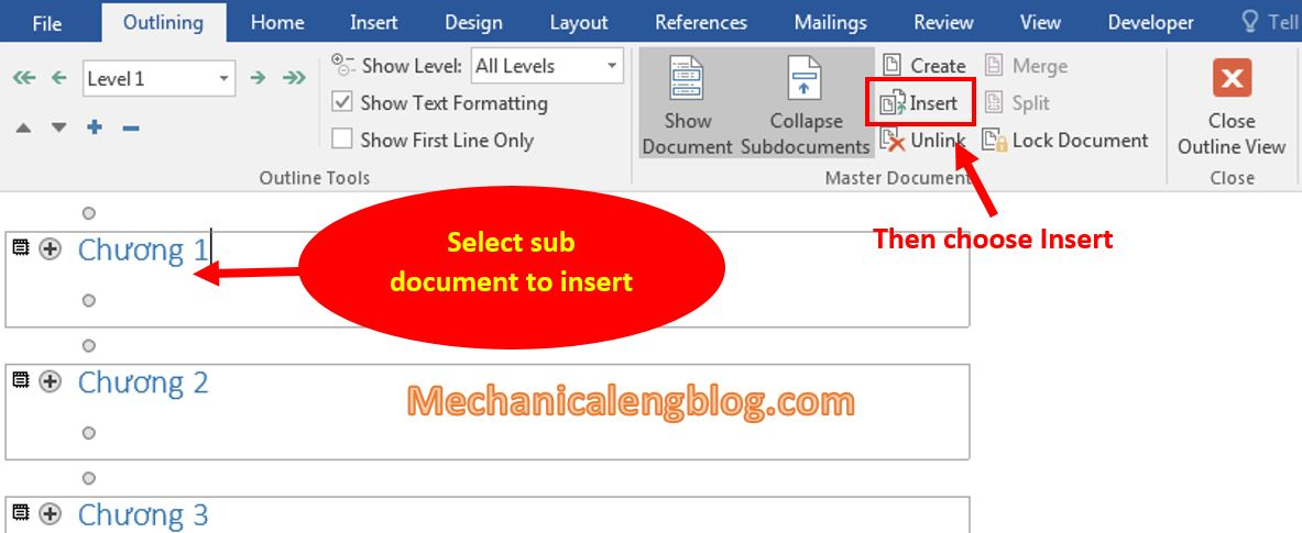 Insert existing document into Master Document file 2