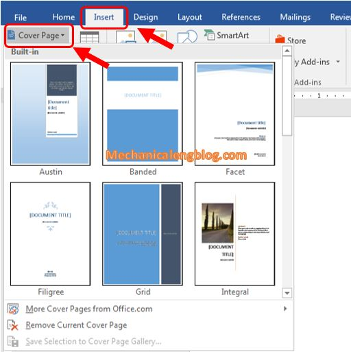 Insert page borders in ms word 2016 according to the available templates 1