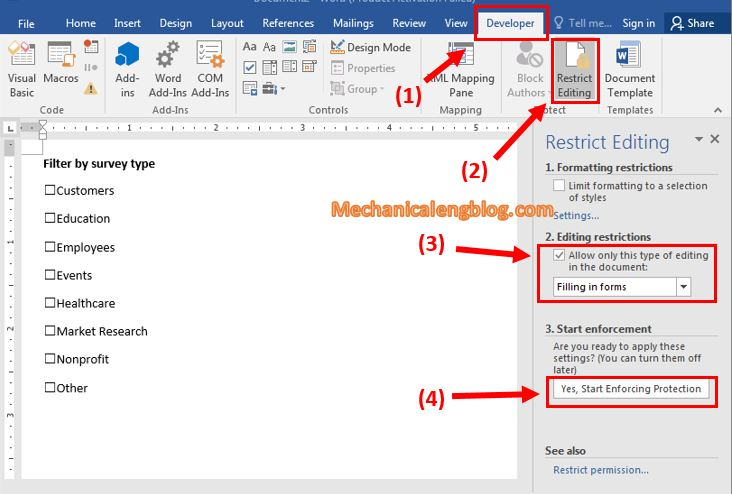 Lock content in Word file containing Checkbox 1