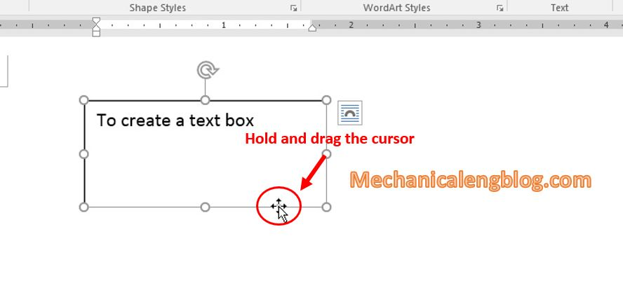 Move text box in word