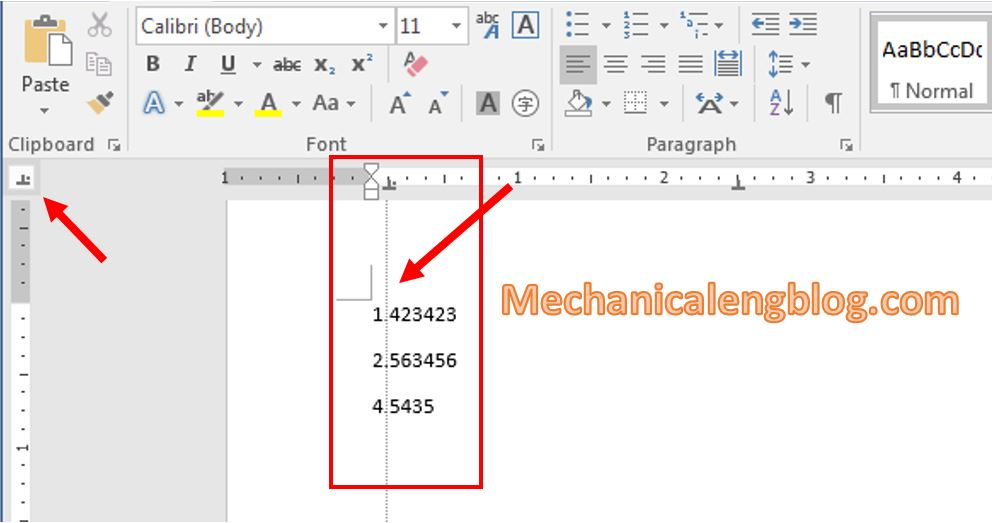 Types of Tab in ms word 4