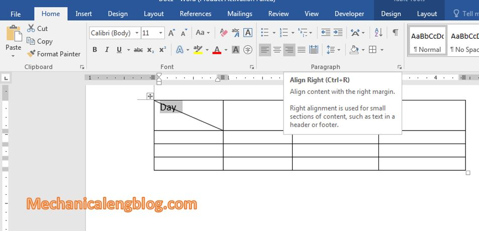 Writing in cell with diagonal line 2