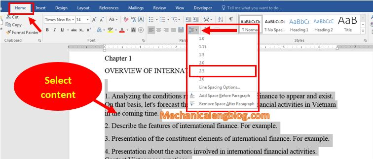 change line spacing in Word quickly1