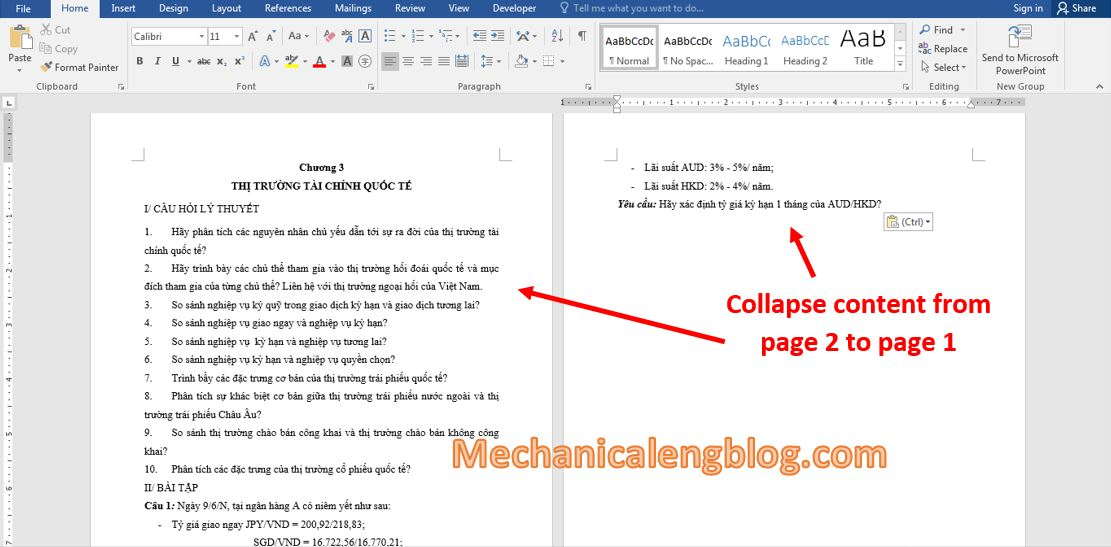 collapse text in Word 1