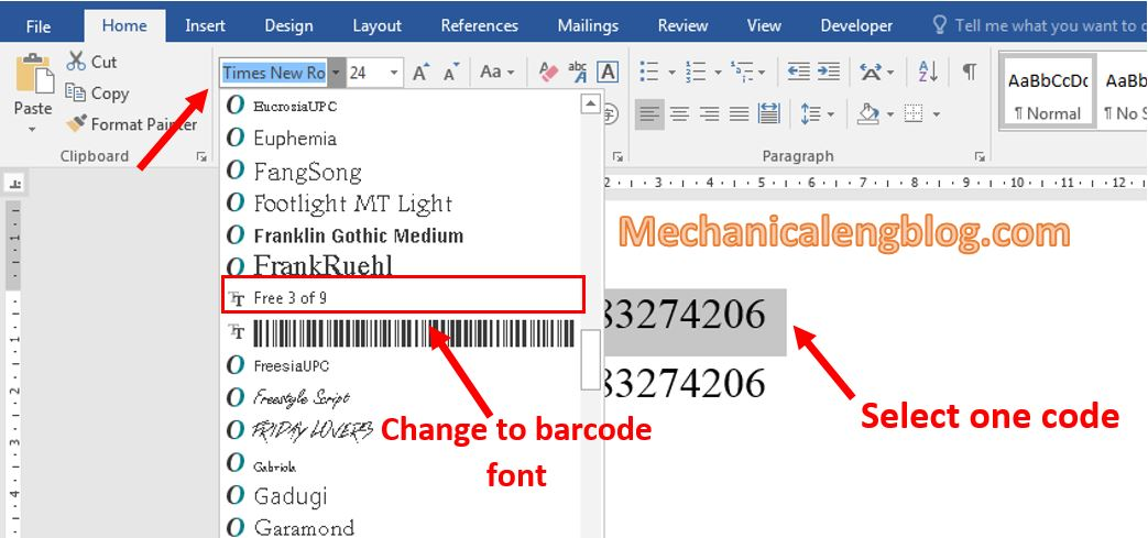 create a barcode in Word 2