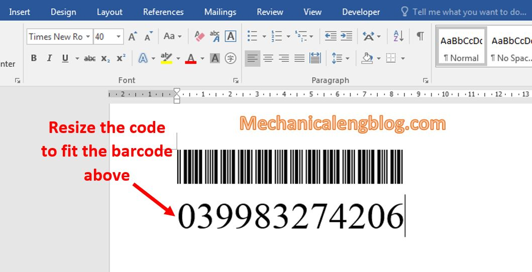 create a barcode in Word 3