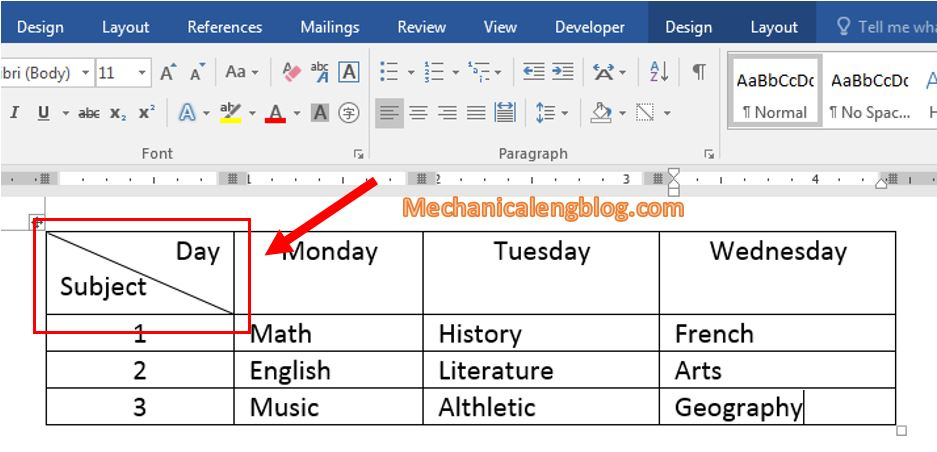 insert diagonal line in Word table
