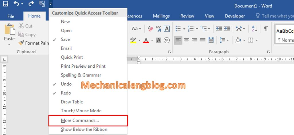 Add in features to the Quick Access Toolbar in ms word 1