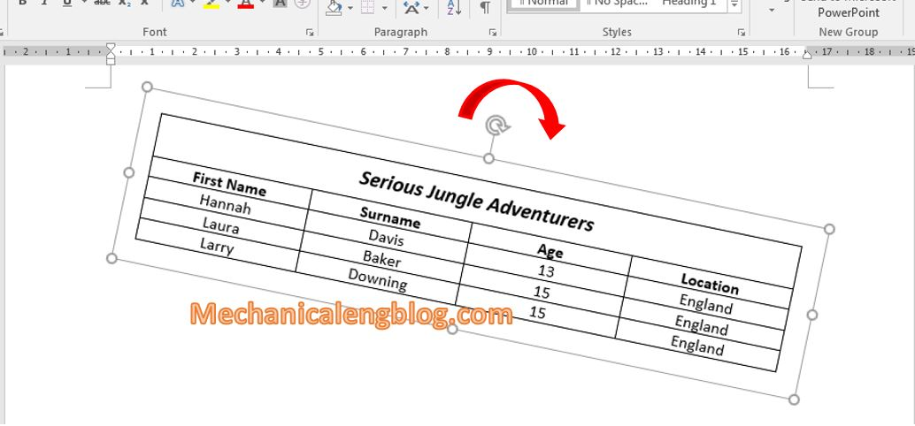 Capture the table in word then rotate