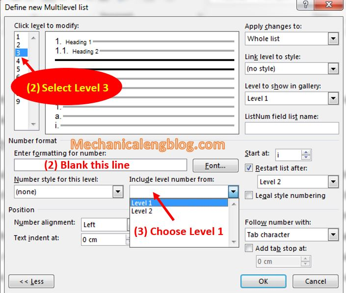 Create Style for Multilevel List in ms word 10