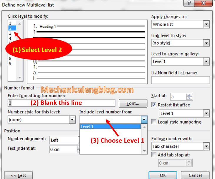 Create Style for Multilevel List in ms word 7