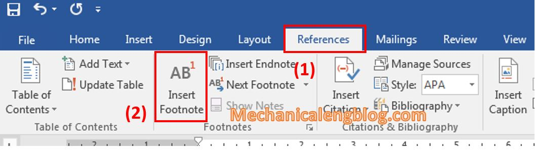Create a footnote in word 1