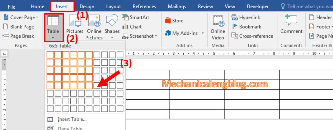 Create a table in ms Word 1