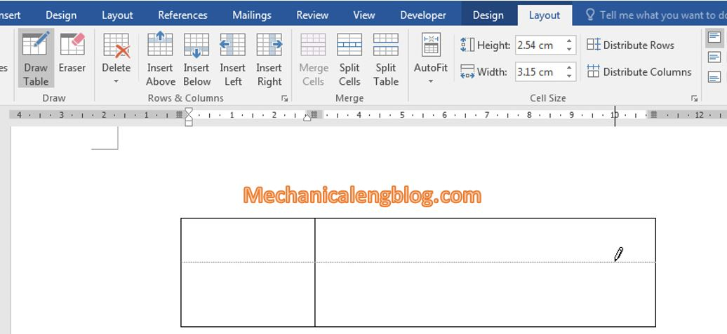 Create a table in ms Word 4