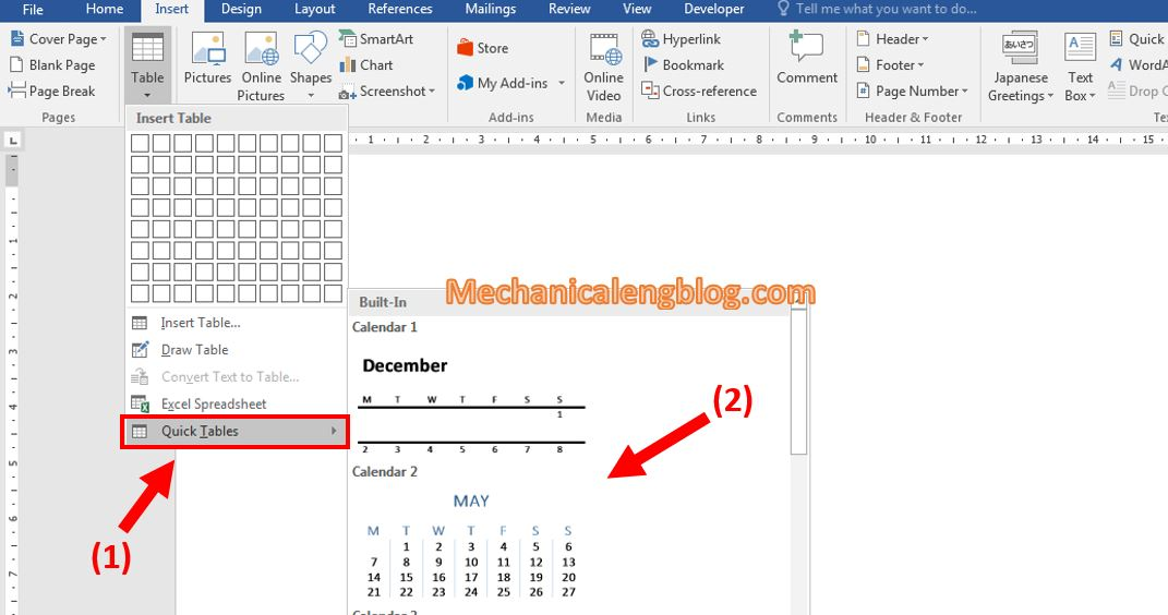 Create a table in ms Word 5