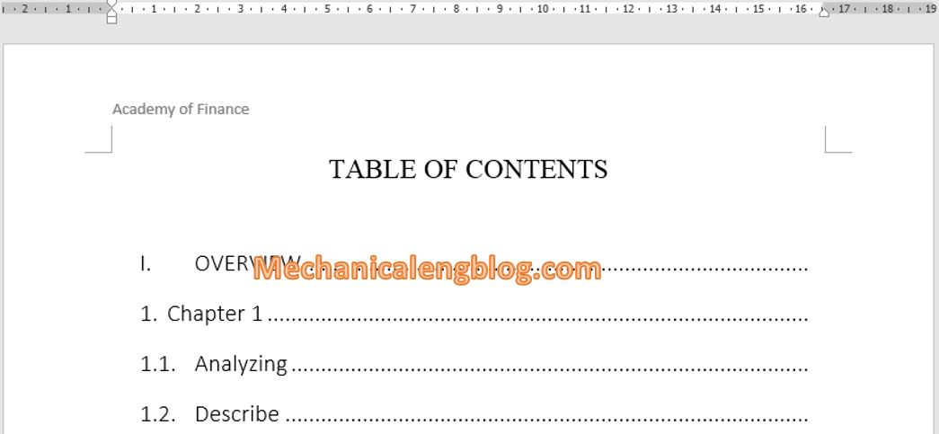 Create a table of contents of ebook in word