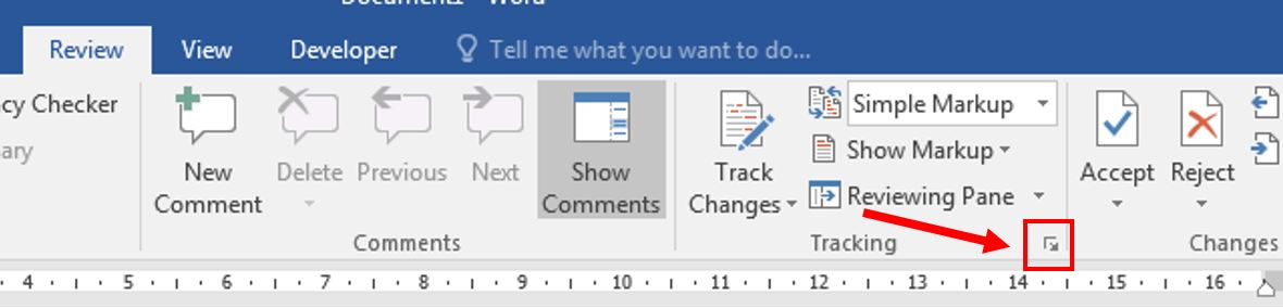 Customize Track Changes in word 1