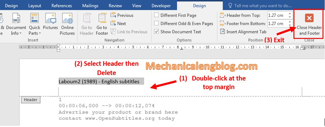 Delete Headers and Footers in word directly 1