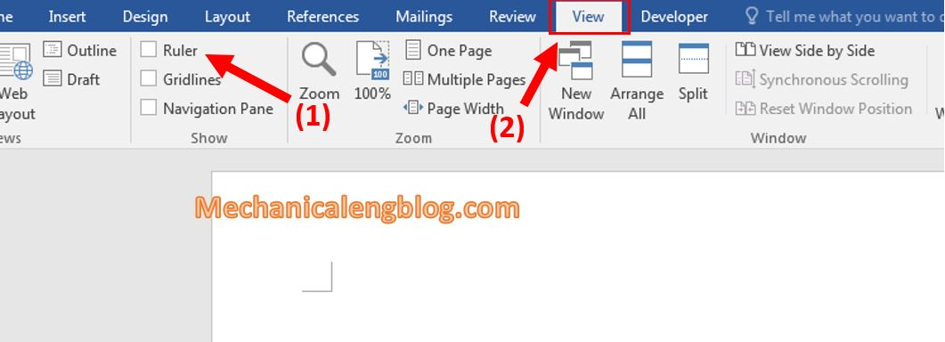 Enable the Ruler bar in word 1