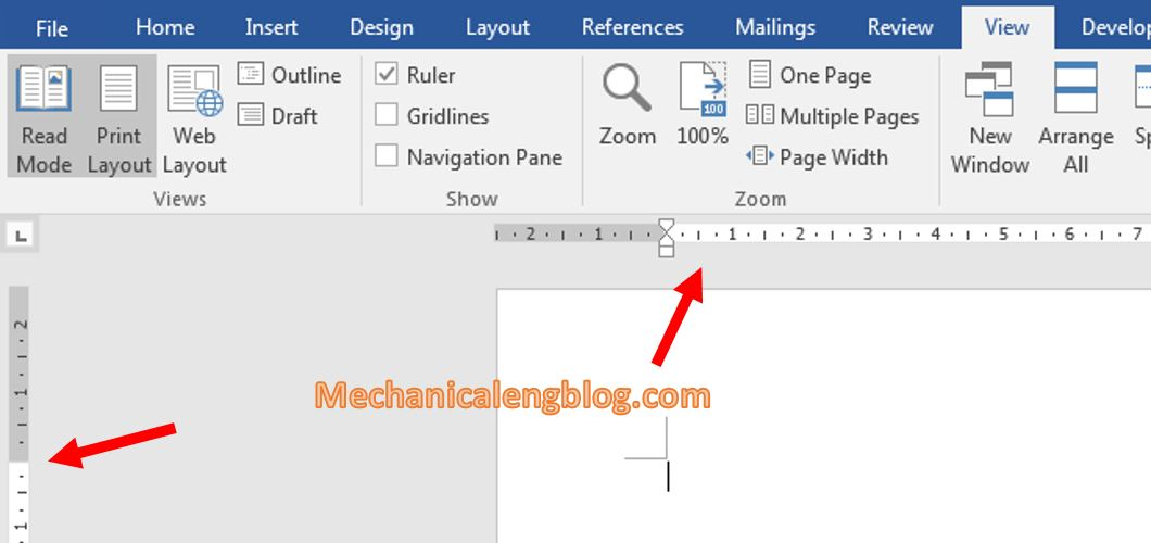 Enable the Ruler bar in word 2