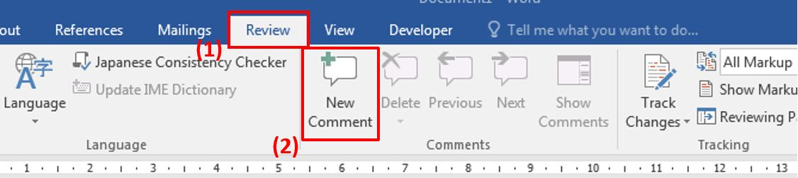 How to add comment in Word 1