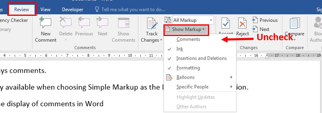 How to add comment in Word 3