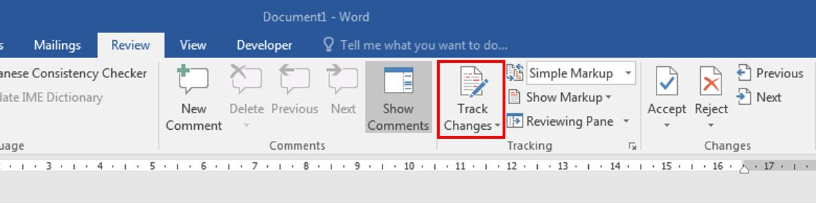 How to turn on track changes in word