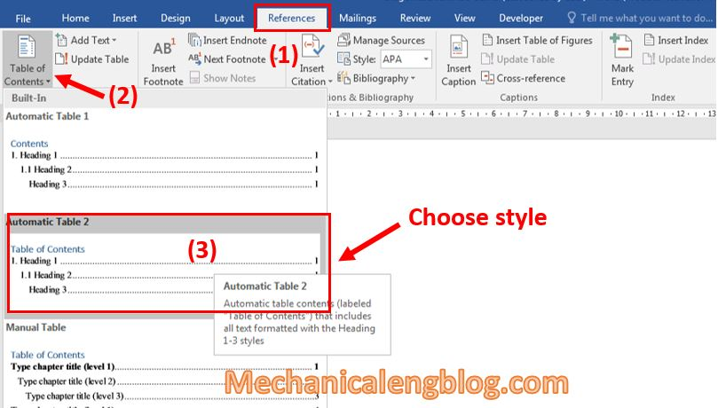 Insert Table of Contents in word 2