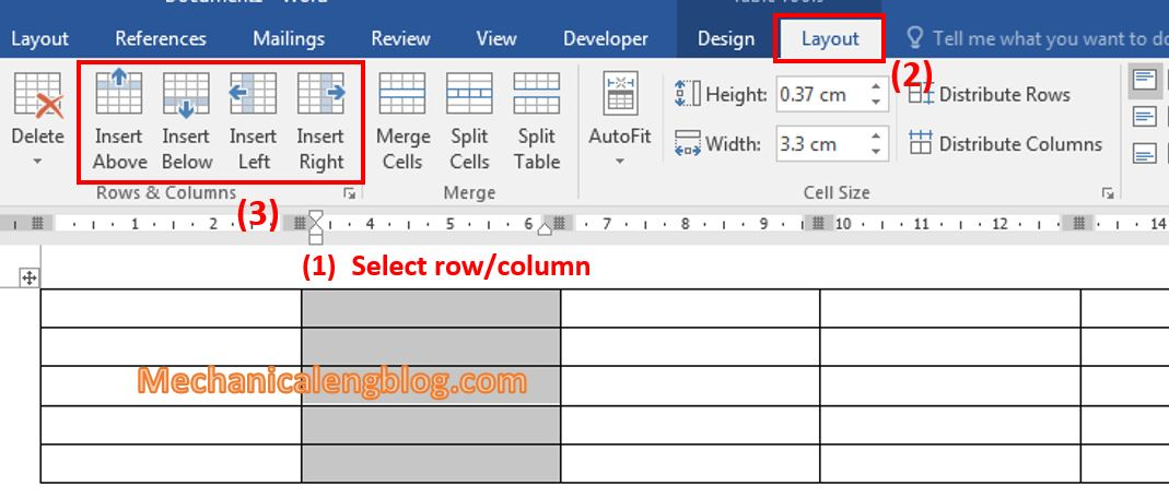 Insert more rows or columns of table in word 2