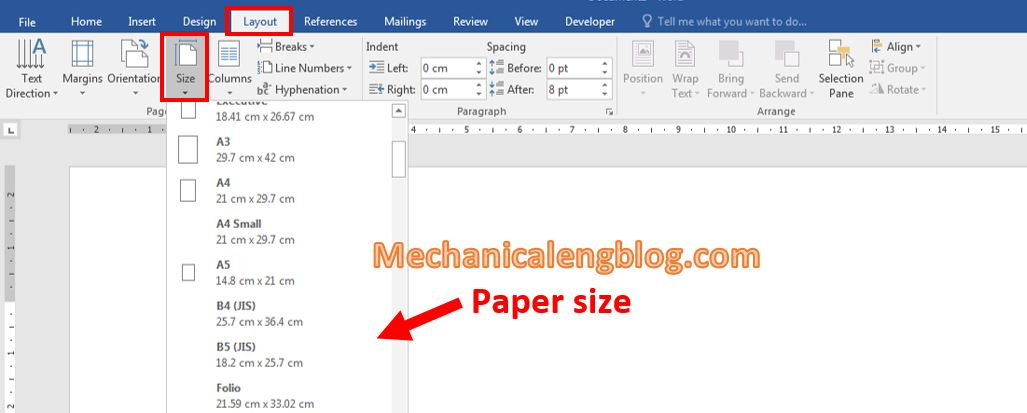 Paper size and margin alignment 1
