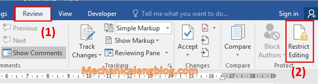 Protect a document in Word 1