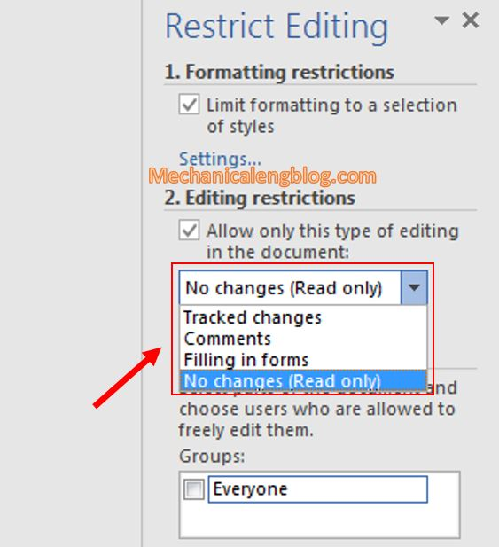 Protect a document in Word 7