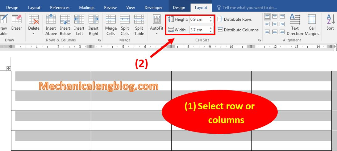 Resize for rows and columns