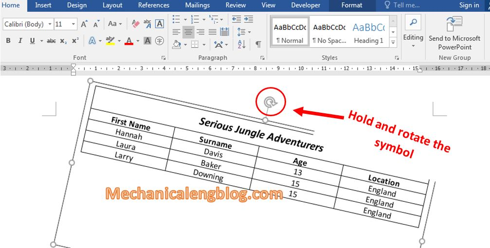 Rotate table in word by using text box 4