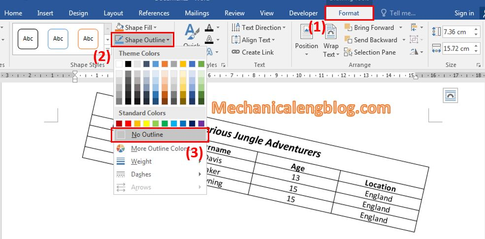 Rotate table in word by using text box 5