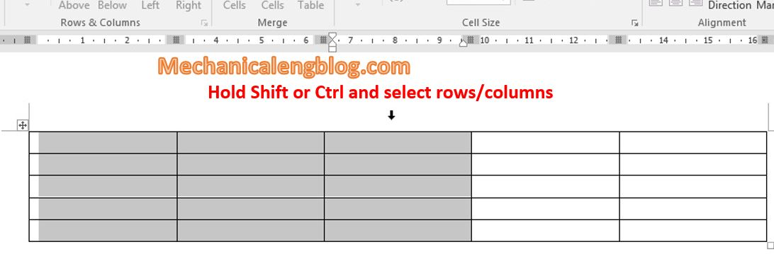 Select row or column of table in word