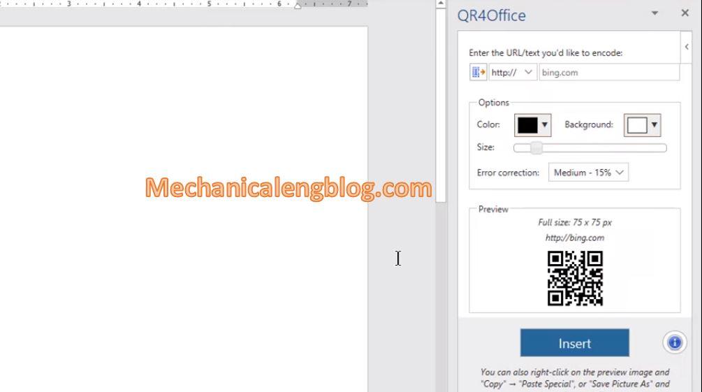 create QR code in Ms Word 4