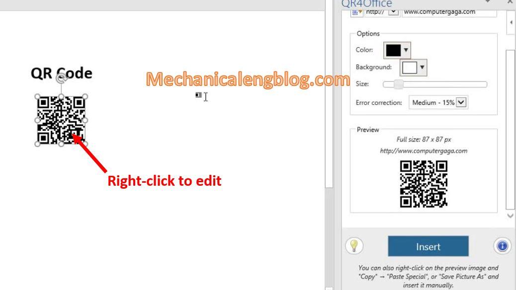 create QR code in Ms Word 6