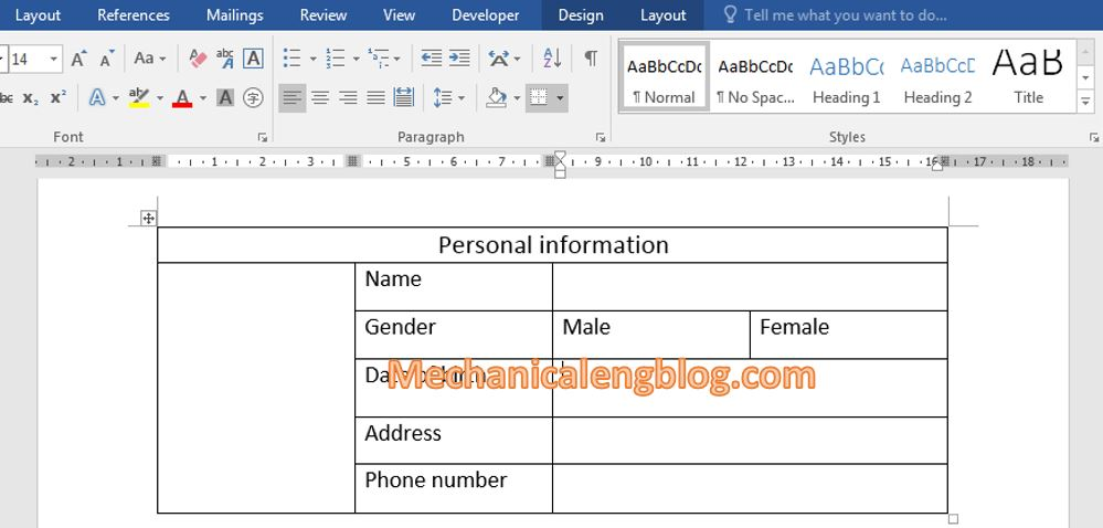 create a form in Word 1