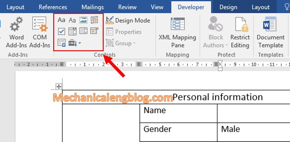 create a form in Word 2