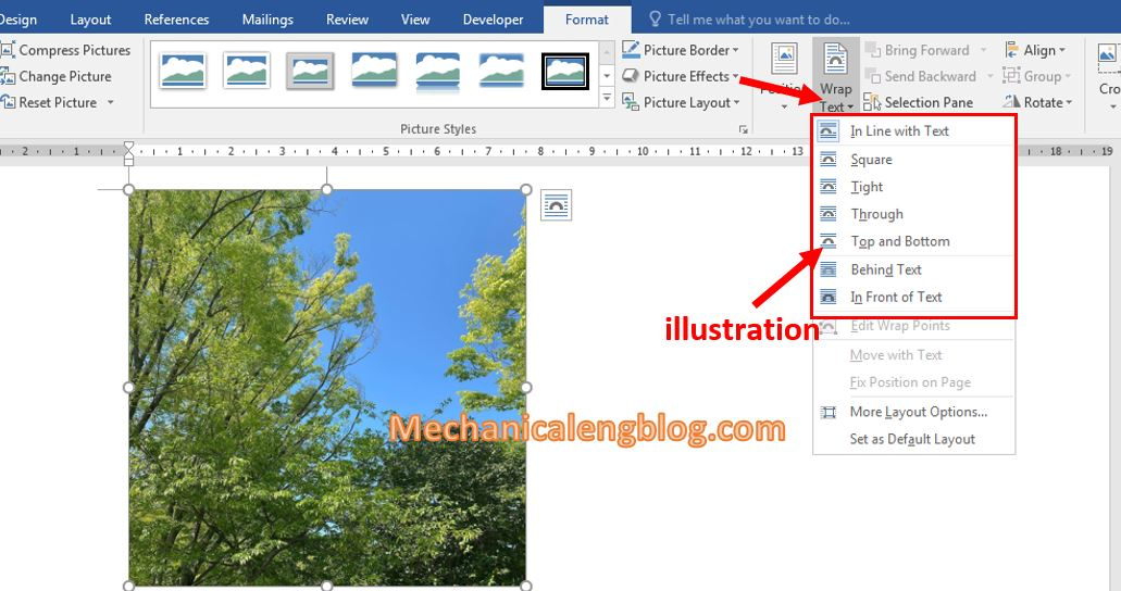 move a picture in Word 2