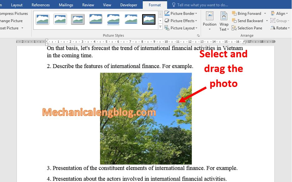 move a picture in Word 3