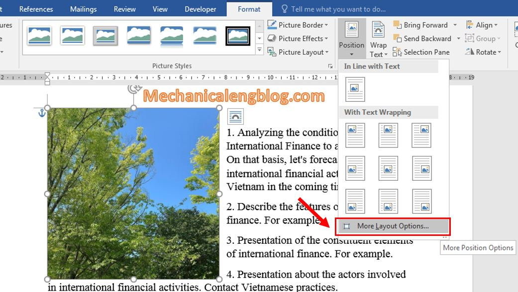 move a picture in Word 5