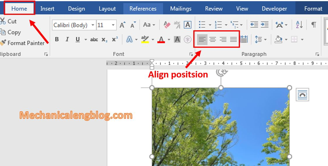 move a picture in Word 8